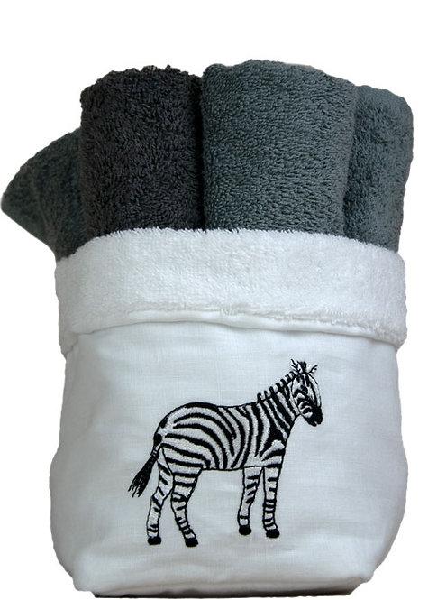 Cestino porta lavettes per il bagno in spugna di puro cotone italiana e lino naturale con ricamo zebra