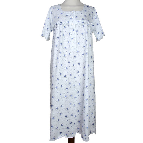 Camicia da notte in puro cotone con fantasia a fiori - camicia di produzione italiana made in italy
