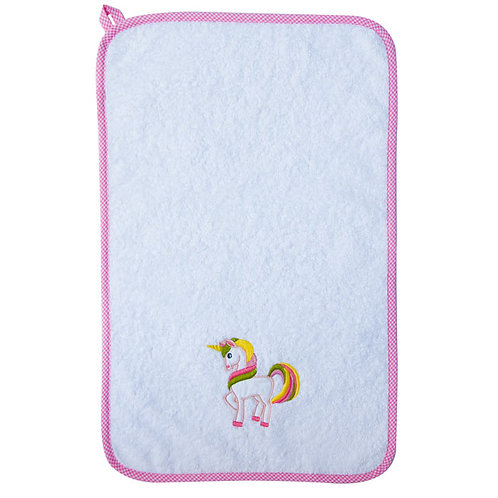 asciugamano in puro cotone anallergico per bambina con ricamo fantasia e nome ricamato made in italy