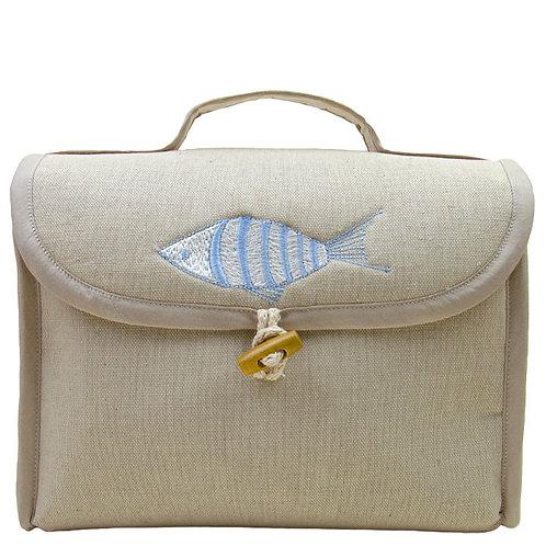 Beauty porta trucchi in lino con bottone alamaro made in italy