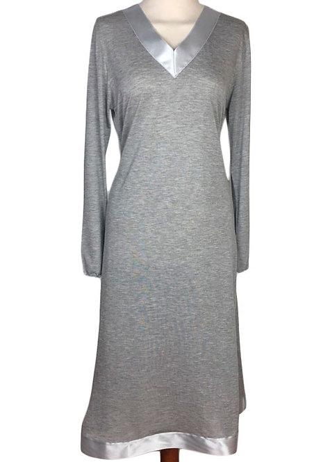 Camicia da notte in micromodal con scollo in raso - camicia da notte sartoriale di qualità italiana -