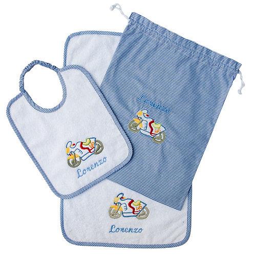 Set asilo completo: Asciugamano, bavaglio e sacchetto - Mix
