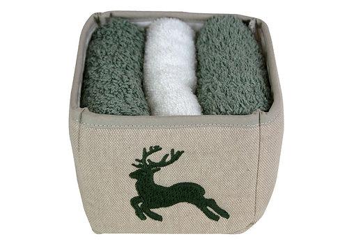 Cestino porta lavettes in cotone grezzo con lavettes incluse - prodotto italiano