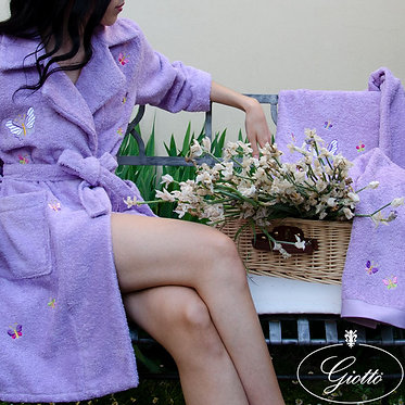 accappatoio donna sciallato 500 gr/mq spugna italiana di qualità con ricamo di farfalle