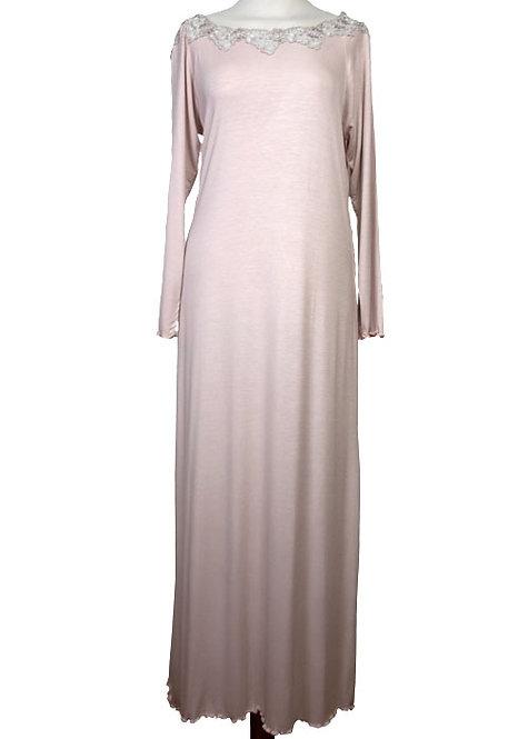 Camicia da notte donna con pizzo in cotone e camicia in viscosa qualità 100% italiana
