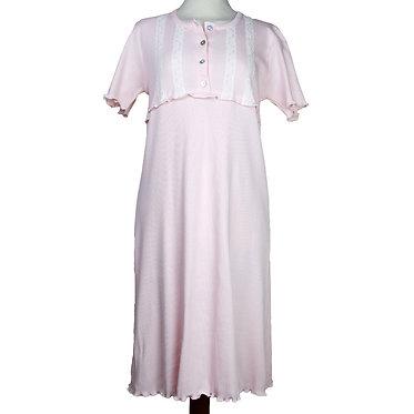 camicia da notte donna in puro cotone con pizzo e rouge - camicia da notte di qualità italiana - made in italy
