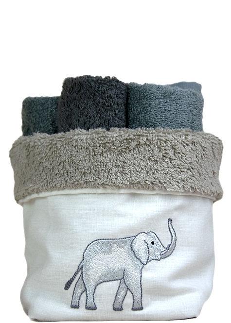 Cestino porta lavettes per il bagno in spugna italiana con ricamo manuale su lino