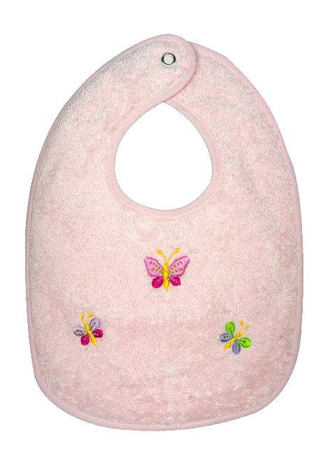 Bavaglio da bambini in spugna di puro cotone con ricamo a mano di farfalle
