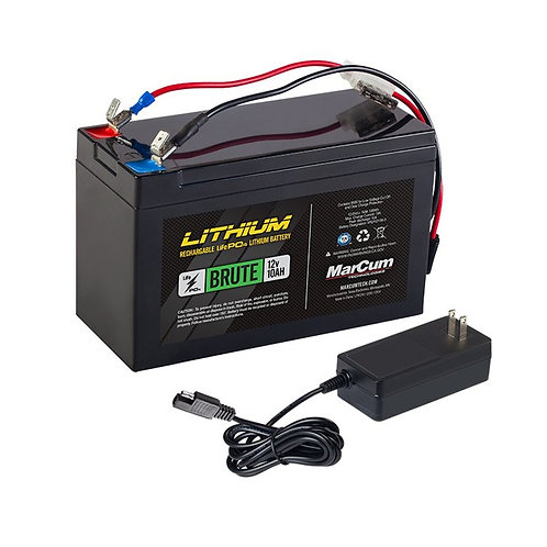 """MARCUM LITHIUM 12V 10AH LIFEPO4 """"BRUTE"""" BATTERY AND 3AMP CHARGER KIT"""