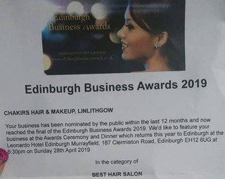 "Nominated for the Scottish Business Awards!! In the "" best hair salon "" category!!!"