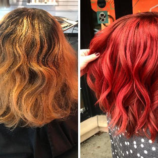 Balayage and Red Toner