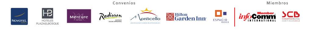 Convenios: Novotel, Hotel Plaza el Bosque, Mercure, Monticello, Hilton Garden Inn, Espacio Riesco y Miembros de InfoComm International, Convetio Bureau Santiago Chile. Magnetika S.A.