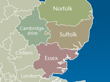 This is a map. A map of our delivery area. Suffolk, Norfolk and Cambridgeshire.