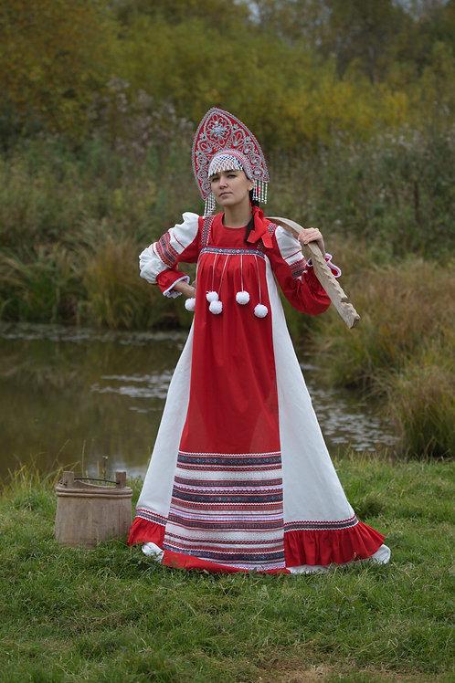 """костюм """"Забава"""" белый лен с красной отделкой, кокошник """"Ярославна"""""""