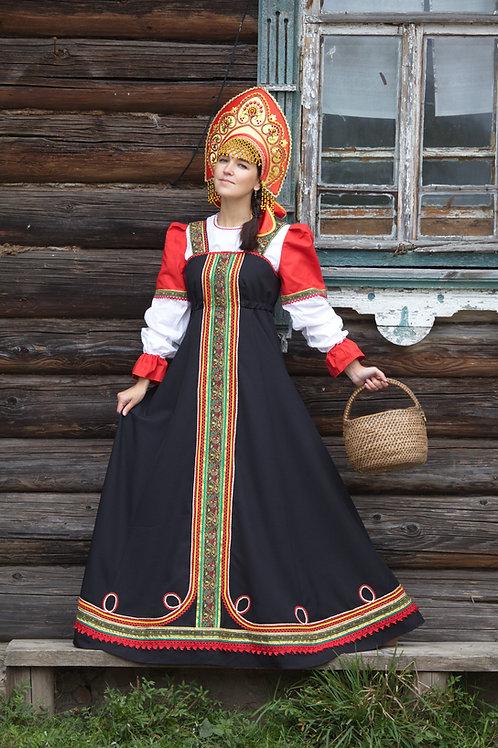 """костюм """"Любава"""" черный, кокошник """"Ярославна"""""""