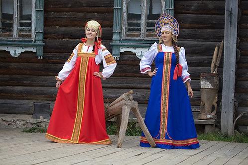 "костюм""Аленушка"" красный, кокошник ""Сударушка"" КС-2, костюм ""Любава""синий,купол"