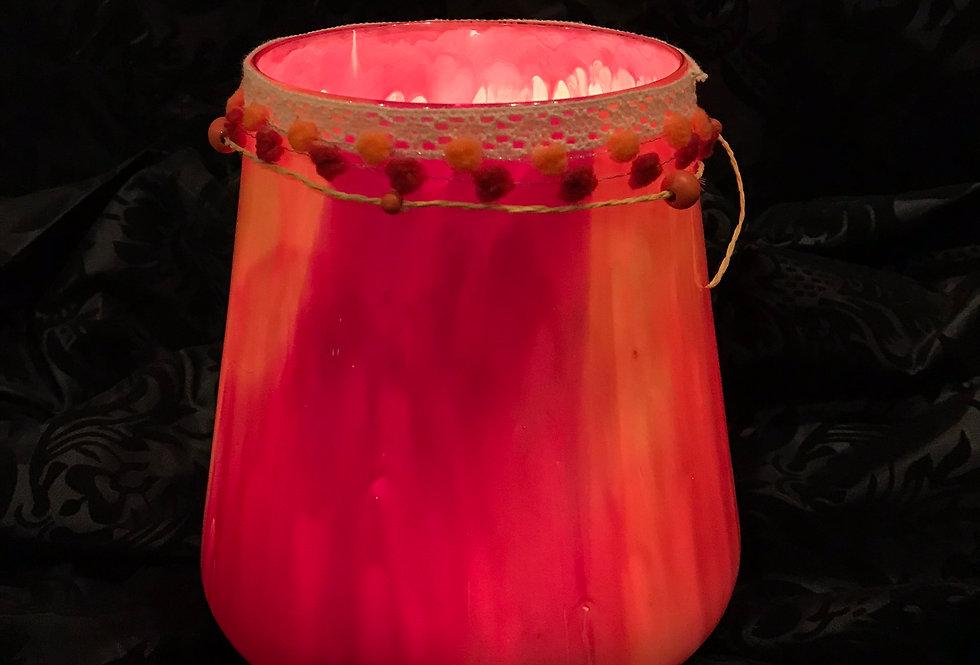 Kleine Windlichtlampe pink, orange,  rot