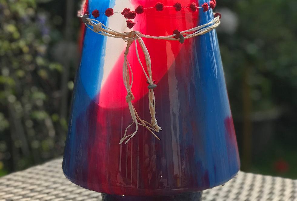 große Windlichtlampe blau, weiß, rot