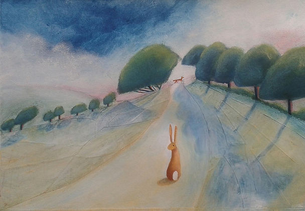 Curious Hare Art depicting the Hare in a Derbyshire Landscape