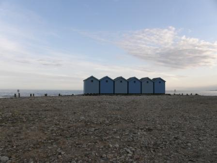 Beach huts at Charnmouth Dorset