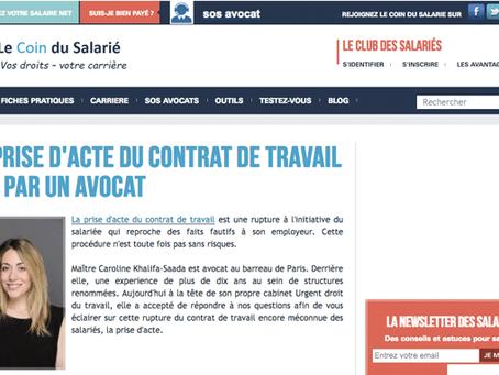 La prise d'acte du contrat de travail vue par un avocat - publié dans le coindusalarie.fr