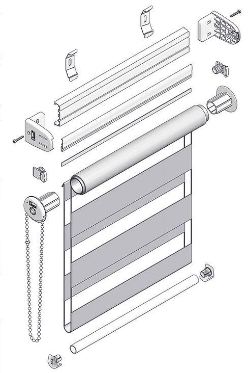 Схема рулонной шторы открытой системы MGS ЗЕБРА.