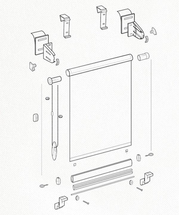 Схема рулонной шторы системы MINI.