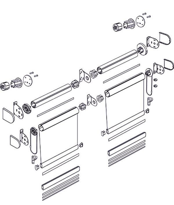 Схема рулонной шторы системы LOUVOLITE классика DOUBLE.