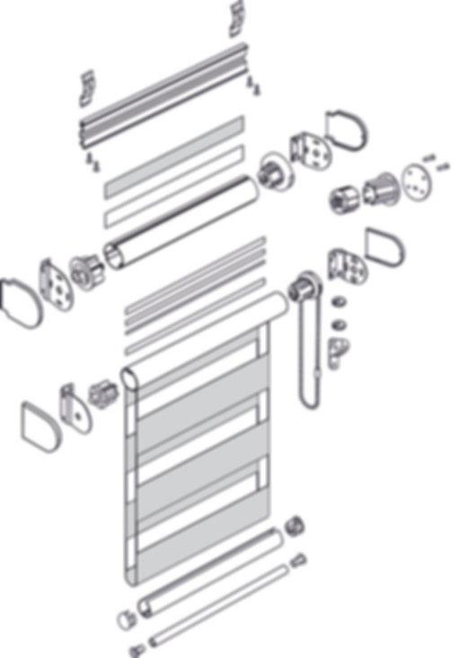 Схема рулонной шторы открытой системы LOUVOLITE ЗЕБРА.
