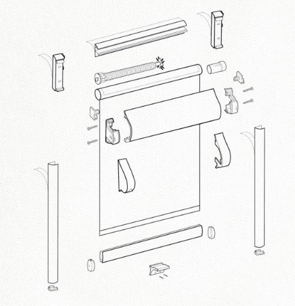 Схема рулонной шторы системы UNI пружина.
