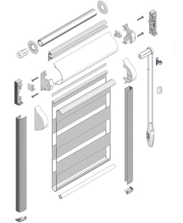 Схема рулонной шторы системы UNI 2 ЗЕБРА.