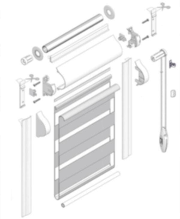 Схема рулонной шторы системы UNI 1 ЗЕБРА.