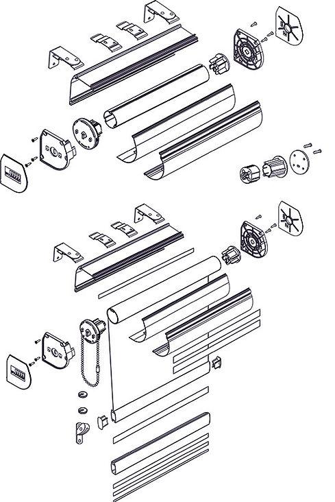 Схема рулонной шторы системы LOUVOLITE кассета.