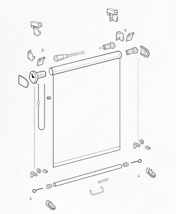 Схема рулонной шторы системы LUX 1.