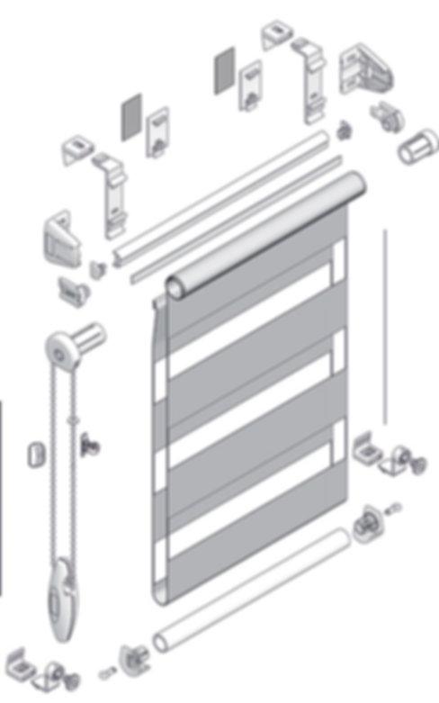 Схема рулонной шторы системы MINI ЗЕБРА.
