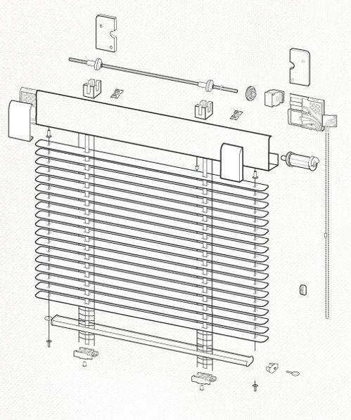 Схема сборки горизонтальных жалюзи VENUS.