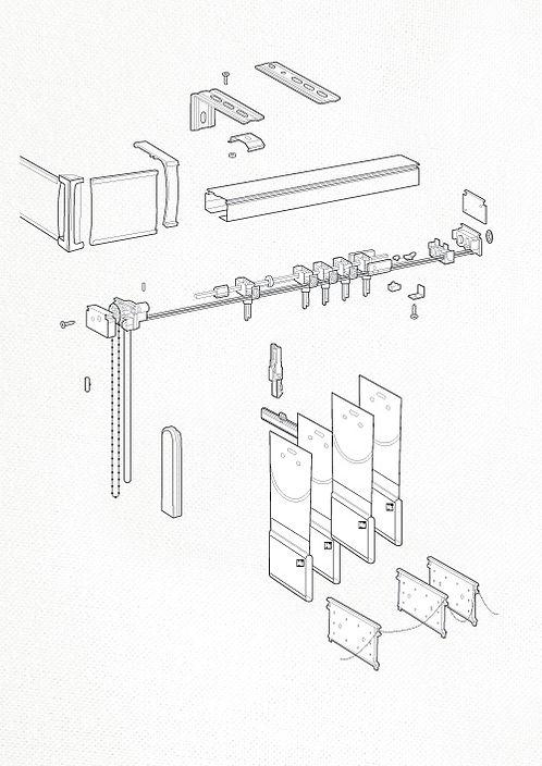 Схема сборки вертикальных жалюзи.