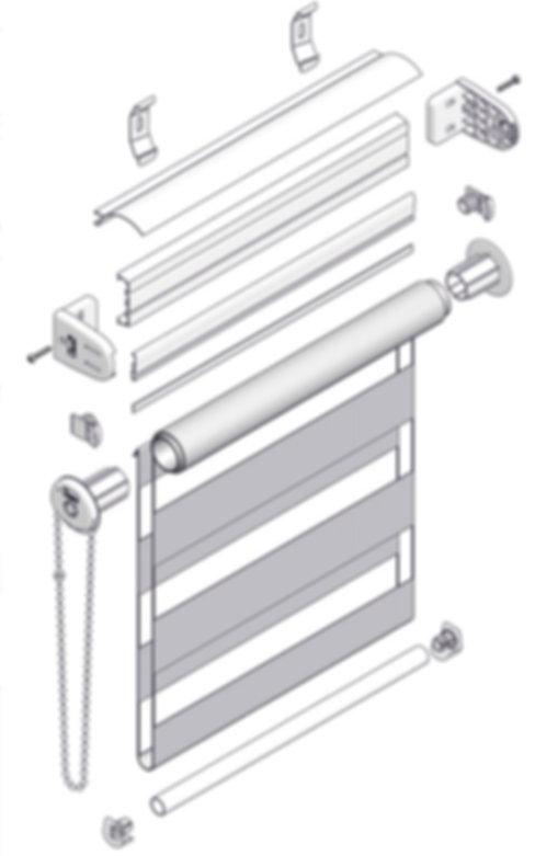 Схема рулонной шторы кассетной системы LOUVOLITE ЗЕБРА.