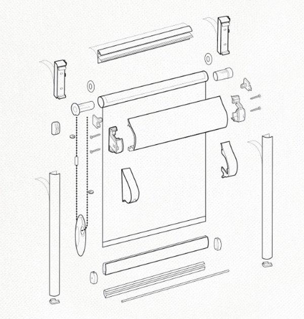 Схема рулонной шторы системы UNI 2.