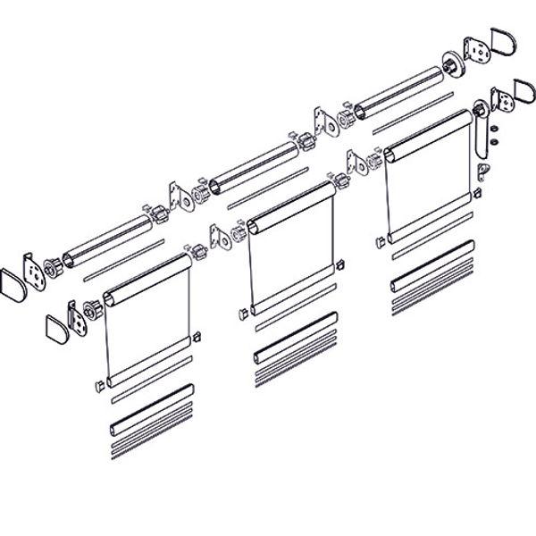 Схема рулонной шторы системы LOUVOLITE классика MONO.
