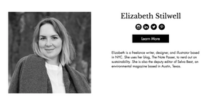 Image of the profile page for Elizabeth Stilwell, a fair trade advocate.