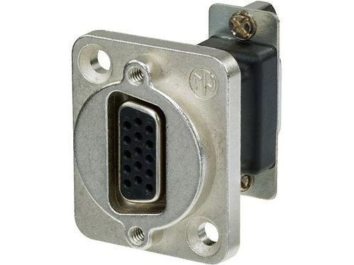 15-pole D-sub feed-through panel jack