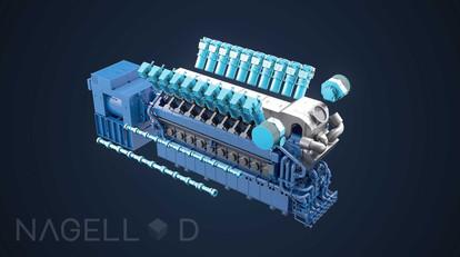 Illustrasjon av motor med exploded view