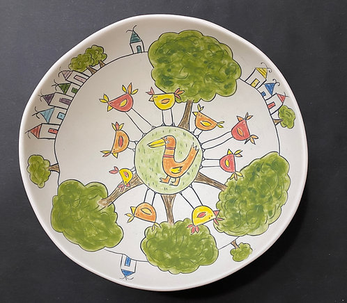 The Day the Chickens Played Duck Duck Goose--xlarge bowl with foot