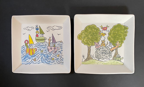 Story Plates, 6x6--Teacup Races & Stack O'Friends
