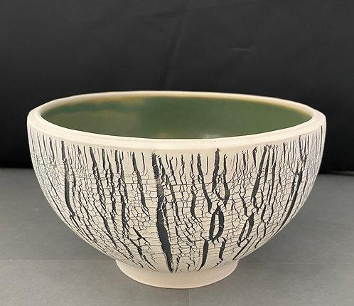 Large Porcelain Textured Bowl --Green