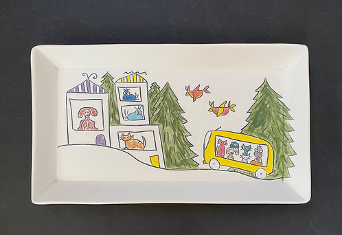 Story Plate, 6x10--They All Went Visiting!