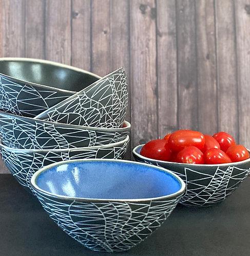 Abstract Design Black Sgraffito Bowls- 2 sizes