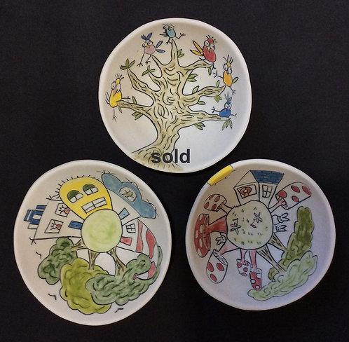 Small Story Bowls--Bird Tree, MushroomTown, Happy Village