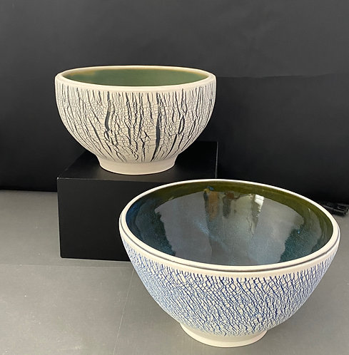 Large Porcelain Textured Bowls --Green or Blue